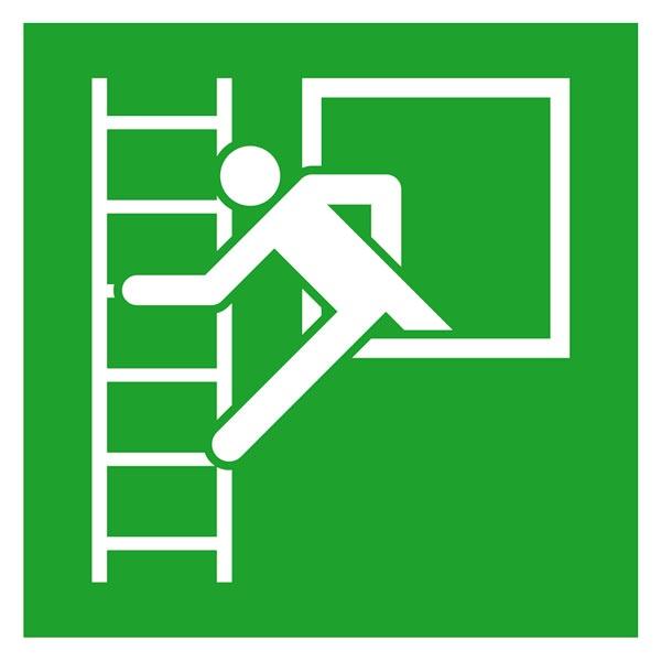 Rettungszeichen: Notausstieg mit Fluchtleiter links | Aluminium | 20x20cm