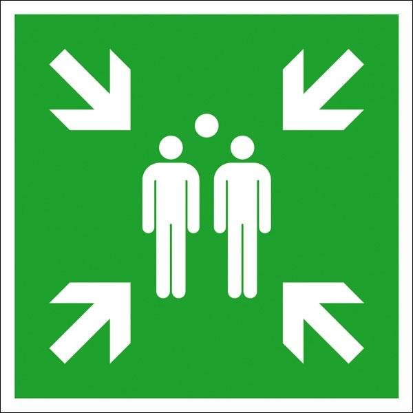 Rettungszeichen: Sammelstelle | Aufkleber | 20x20cm