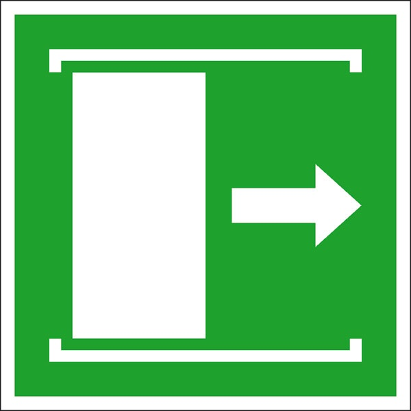 Rettungszeichen: Schiebetür nach rechts | Aufkleber | 20x20cm