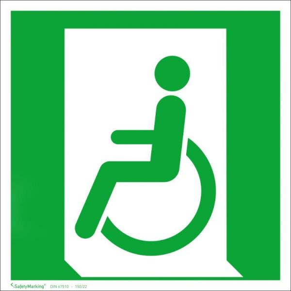 Rettungszeichen: Notausgang für Gehbeeinträchtigte links | Aluminium | 20x20cm