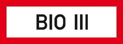 Hinweisschild für die Feuerwehr: BIO 3 | Aluminium geprägt | 21x7,4cm