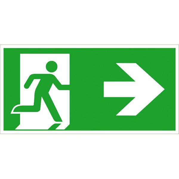 Rettungszeichen: Rettungsweg rechts | Aluminium | 40x20cm