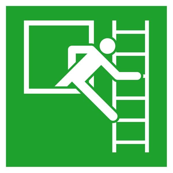 Rettungszeichen: Notausstieg mit Fluchtleiter rechts | Aluminium | 20x20cm
