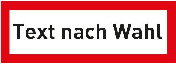 Hinweisschild für die Feuerwehr: Text nach Wahl | Aufkleber | 14,8x5,2cm