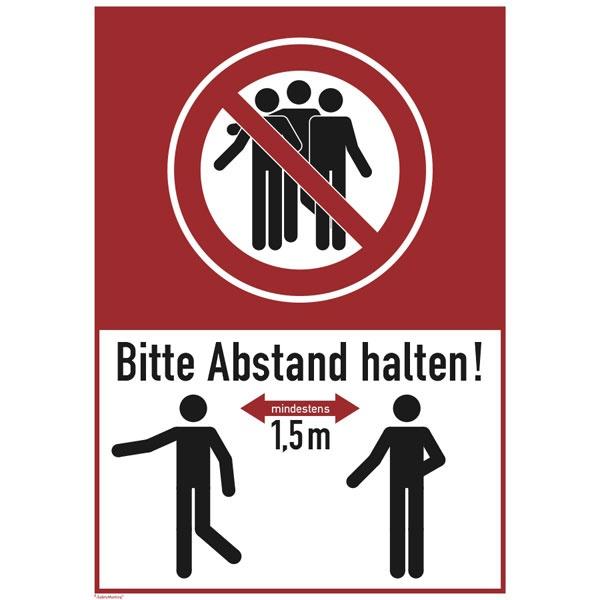 """Hinweisschild """"Bitte mind. 1,5 m Abstand halten!""""   13,1x18,5cm"""