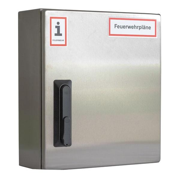 A4-Wandschrank für Feuerwehrpläne   Edelstahl   Schwenkhebelgriff für Profilhalbzylinder
